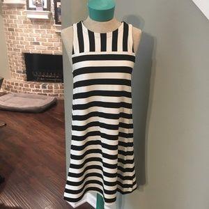 LOFT Black & White Striped Dress